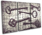 Keys Old Shabby Chic Vintage Treble Canvas Wall Art Picture Print