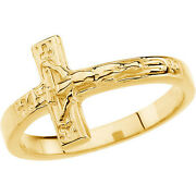 Size 8 - 10k Yellow Gold Crucifix Chastity Ring Religious Jewelry Free Shipping
