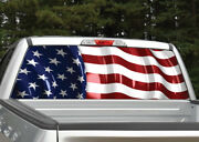 Waving American Flag 4 Rear Window Decal Graphic For Truck Suv