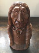 Hand-carved By Master Carver. Walnut Indian Head And Bust 9 Ht X 5 Across