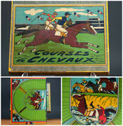 Antique Toy Boxed And Courses De Chevaux Horse Racing Game. Rare And Perfect