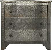 30 Long Melisande Metal Small Chest Solid Metal Wood Hammered Zinc Finish