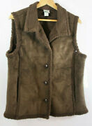 Nwt Mountain Lake Vest M Brown Faux Suede Sherpa Button Front Layer Jkt