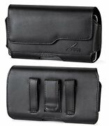 Agoz Leather Belt Clip Magnetic Closure Pouch Case Loops Cover For Bare Phones