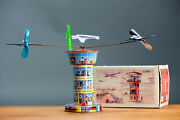 Antique Tin Toy Boxed Jsch Schopper Germany Airplane Airport Tower Clockwork