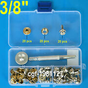Boat Cover/canopy Fittings - Snap Fastener Stainless Canvas To Screw Kit And Tools