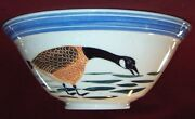 """Pottery Bowl w Geese Wheel Thrown Hand Decorated Ceramic 10"""" dia X 4.25"""" deep"""