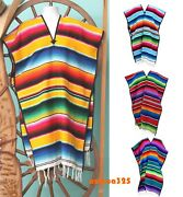 Mexican Poncho Serape Sarape Pancho Adult Size In Many Colors