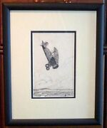 Beautiful Framed 1933 Dated Pen And Ink Of 1930s Usac Bi-plane Signed Mcquillan
