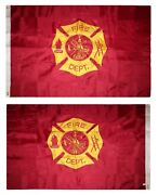 4x6 Embroidered Sewn Fire Dept. Department Nylon Flag 4and039x6and039 Double Sided