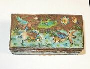 Old Silver Gilt Cloisonne Repousse Enamel Chinese Koi Fish In Pond Stamp Jar Box