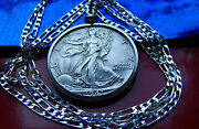 1940and039s High Grade Walking Liberty Half Dollar Pendant On A 22 .925 Silver Chain