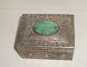 Chinese Silver Filigree Carved White And Apple Green Jade Humidor Box
