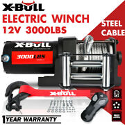 X-bull 12v 3000lbs Electric Winch Atv Utv Steel Cable Towing Truck Off Road