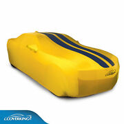 Coverking Satin Stretch Car Cover Yellow With Dark Blue Stripes 2010-2015 Camaro