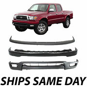 New Complete Steel Front Bumper Deflector Combo Kit For 2001-2004 Toyota Tacoma