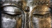 Balinese Wise Eyes Of Buddha Wall Art Sculpture Hand Carved Wood Silver Bali Art