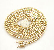 6.5mm Mens Tight Miami Cuban Link Chain Necklace Real Solid 10k Yellow Gold