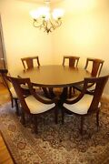 High End Round Dining Room Set W/6 Chairs And Marble Top Buffet