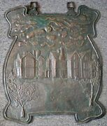 1900 British Arts And Crafts Hand Hammered 2-d Copper Sign By Artist A. W. Kiddie