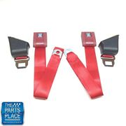 1967-72 Gm A Body Standard Retractable Flame Red Seat Belt - Set
