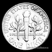 1964 D Roosevelt Uncirculated Silver Dime Raw Coin From Bank Roll