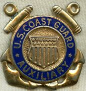 Wwii Us Coast Guard Auxiliary Hat Badge In Gilt Sterling Silver By Gemsco