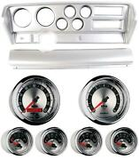 70-72 Gto Silver Dash Carrier W/ Auto Meter American Muscle Gauges