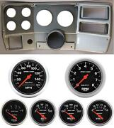 84-87 Chevy Truck Silver Dash Carrier W/ Auto Meter Sport Comp Electric Gauges