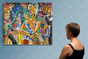 47 -- Cubist Night Party --------- Original Painting Oil On Canvas By Miu