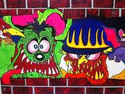 Rats Hole By Finger, Acrylic Painting, Rat Fink, Big Daddy Roth, Funny Car Art