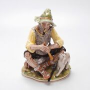 Vintage German Figurine Of An Old Shepherd W/ A Lamb By Sandizell Hoffner And Co.