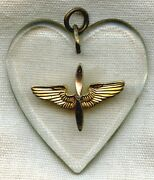 Wwii Usaaf Lucite Sweetheart Pendant With Hanger