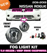 For Nissan Rogue Select 11-15 Fog Light Driving Lamp Kit W/switch Wiring Clear