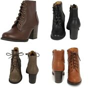 Soda Womenand039s Military Lace Up Leatherette Stacked Heel Ankle Booties Korman-s