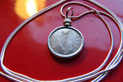 1992 Irish Coin Pendant On A 30 Sterling Silver Snake Chain. Gaelic Harp And Bull