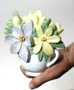 Cast Iron Door Stop Floral Design Pastel Painted Teacup And Flowers 0011010