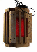 Dav Two Mid Century Wooden Rustic Hanging Indoor Lights On Chains