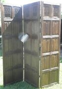 Wood Carved Primitive 6 1/2and039 Tri-fold Three Panel Privacy Screen Divider 0011010