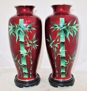 9.7 Pair Of Vintage Japanese Pigeon Blood Red Cloisonne Bamboo Vases W/ Stands