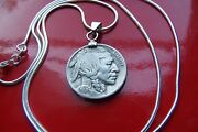 1936-1937 Buffalo Nickel Indian Nickel Pendant On A 30 925 Silver Snake Chain