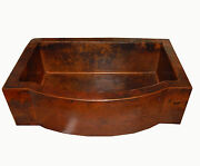 Rounded Apron Front Farmhouse Kitchen Single Well Mexican Copper Sink 33x22 12