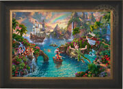Thomas Kinkade Studios Disney Peter Panand039s Never Land 24x36 Le S/n Canvas Framed
