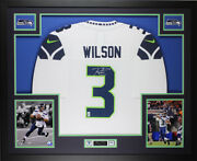 Russell Wilson Autographed And Framed White Seahawks Jersey Auto Wilson Coa D3-l