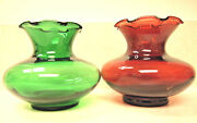 Vintage Carolina,usa Ruby Red And Green Glass Fluted Ruffled Vases