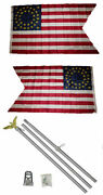 3x5 Union Cavalry Guidon 2ply Flag Aluminum Pole Kit Set 3and039x5and039