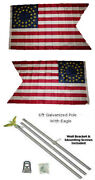 3x5 Union Cavalry Guidon 2ply Flag Galvanized Pole Kit Eagle Top 3and039x5and039