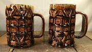 Handmade Signed Pottery Fire Glazed Dripped Primitive Root Beer Mug Stein - Pair