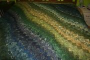Bargello Quilt In Green And Blue Color Scheme King Or Queen Size