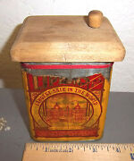Vintage Lipton Tea Paper Label Tin, Great Graphics And Colors, Unusual Wood Lid